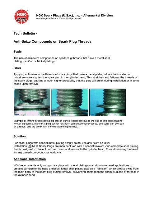 Tech Bulletin - Anti-Seize Compounds on Spark Plug Threads - NGK