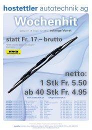 netto: 1 Stk Fr. 5.50 ab 40 Stk Fr. 4.95 - Hostettler Autotechnik AG