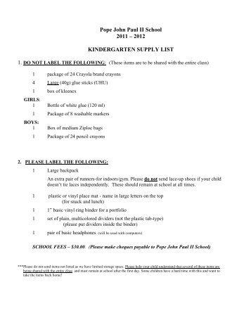 Pope John Paul II School Supply Lists