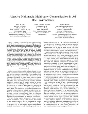 Adaptive Multimedia Multi-party Communication in Ad Hoc - CiteSeerX
