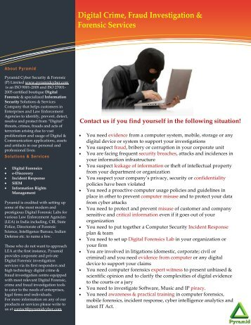 Pramid Brochure - Pyramid Cyber Security & Forensic