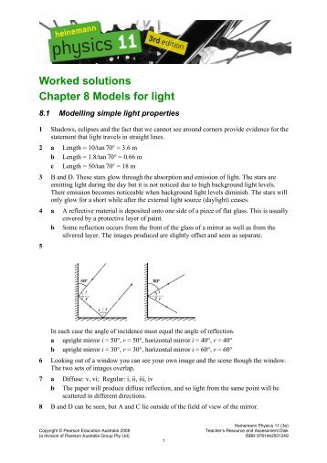 Worked solutions Chapter 8 Models for light - PEGSnet