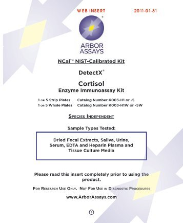 Download datasheet for : Cortisol Enzyme Immunoassay kit - 1