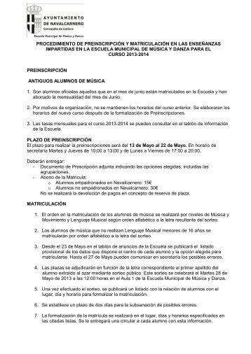 documento informativo de matriculación y preinscripción - Escuela ...