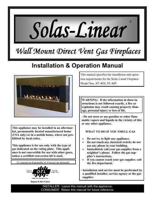Solas Linear Owners Manual Hearth, Solas Gas Fireplace