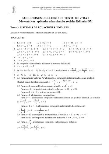 SOLUCIONES DEL LIBRO DE TEXTO DE 2º BAT Matemáticas ...