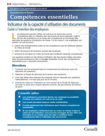 Indicateur de la capacité d'utilisation des documents - Guide à l ...