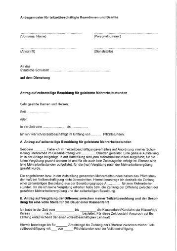 antragsmuster fr teilzeitbeschftigte beamtinnen und beamte - Versetzungsantrag Beamte Muster