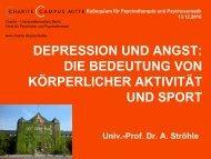 sport, depression und angst - Klinik für Psychiatrie und Psychotherapie