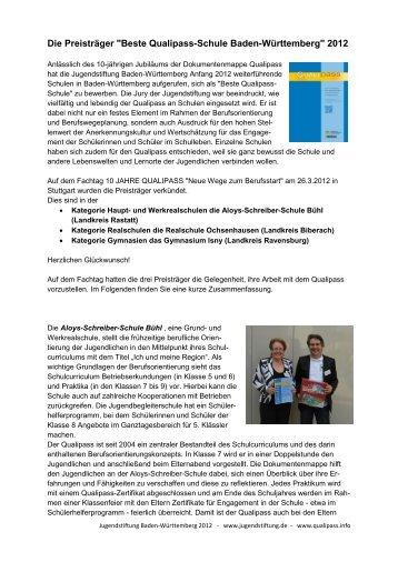 """Die Preisträger """"Beste Qualipass-Schule Baden-Württemberg"""" 2012"""