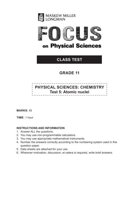 CLASS TEST GRADE 11 PHYSICAL SCIENCES: CHEMISTRY Test 5