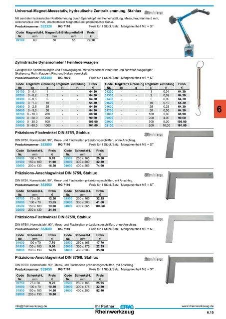 Pr/äzisions Haarwinkel flach 75x50 mm DIN 875//00 INOX