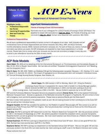 April - Advanced Clinical Practice
