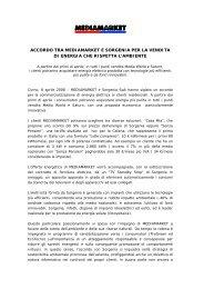 ACCORDO TRA MEDIAMARKET E SORGENIA PER LA VENDITA ...