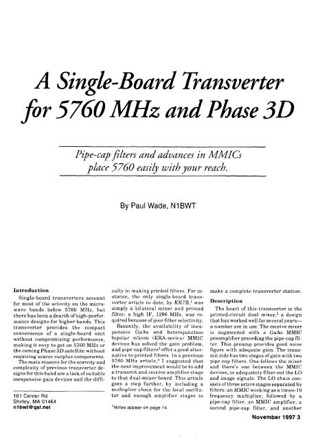 A Single-board Transverter for 5760 MHz and Phase 3D - W1GHZ