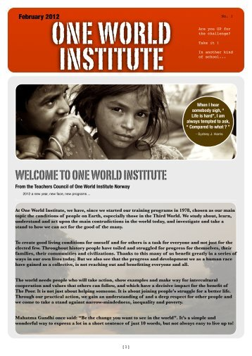 Download our Newsletter - DRH Norway – One World Institute ...