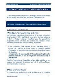 LE DISPOSITIF D'INCITATIONS FISCALES - Adhérent