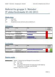 Referat fra gruppe 1: Metoder IT sikkerhedsmøde 01-02-2011