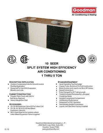 goodman 1 5 ton split system. 10 seer split system high efficiency air conditioning 1 thru 5 ton goodman
