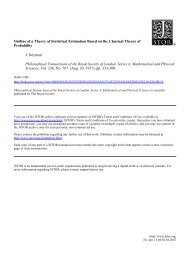 Outline of a Theory of Statistical Estimation Based on the Classical ...
