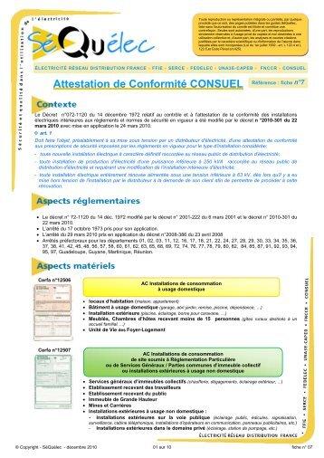 attestation de conformité consuel - erdf