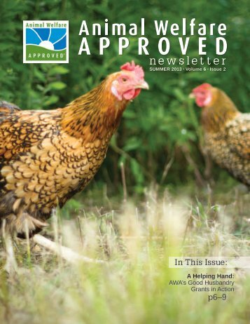 Summer 2013 Animal Welfare Approved Newsletter