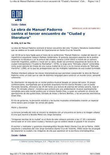 """La obra de Manuel Padorno centra el tercer encuentro de """"Ciudad y ..."""
