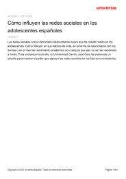 Cómo influyen las redes sociales en los ... - Noticias Universia