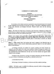 agreement of cooperation between the university of maryland ...