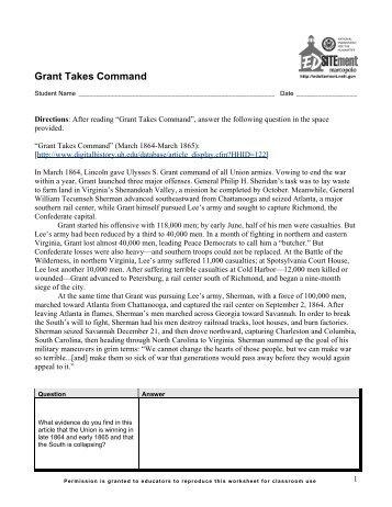 Grant Takes Command - EDSITEment