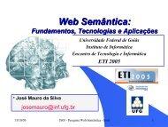 Web Semântica - Instituto de Informática - UFG