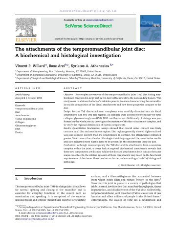 The attachments of the temporomandibular joint disc: A biochemical ...