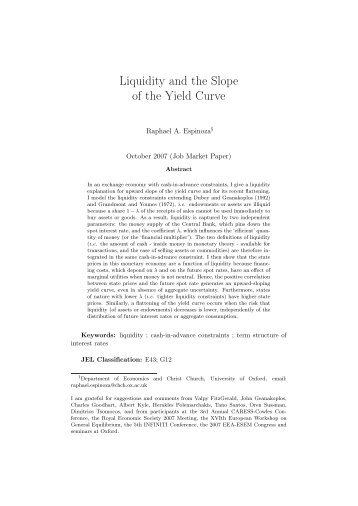 Liquidity and the Slope of the Yield Curve - Ecares
