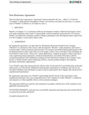Non-Disclosure Agreement for Sensitive But Unclassified Information
