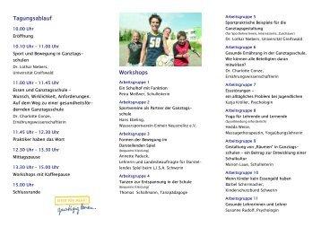 Faltblatt Arbeitstagung Güstrow - Schule + Essen = Note 1