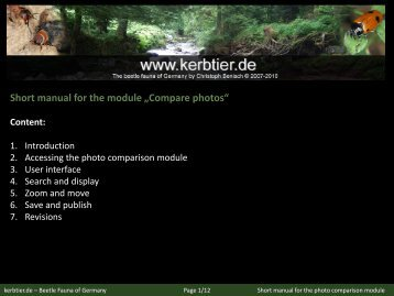 Manual for the photo comparison module - kerbtier.de