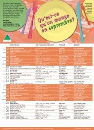 Menu restauration scolaire septembre - octobre 2012 - Guyancourt