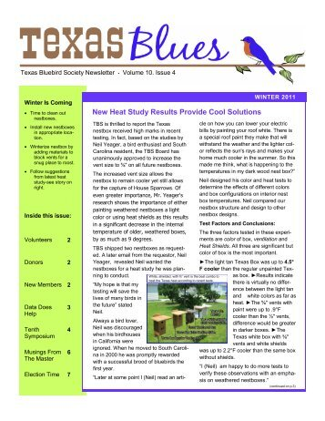 New Heat Study Results Provide Cool Solutions - Texas Bluebird ...