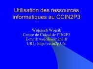 Utilisation des ressources au CCIN2P3