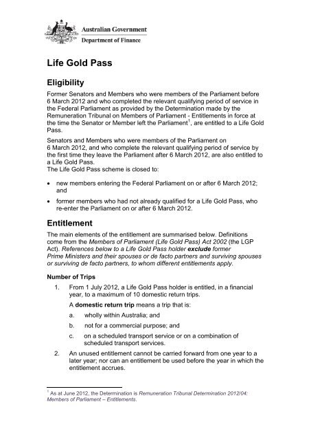Life Gold Pass Guideline - Ministerial and Parliamentary