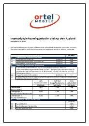 Internationale Roamingpreise im und aus dem Ausland - Ortel Mobile