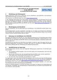 Informationen für Zertifikatinhaber in der DFN-PKI