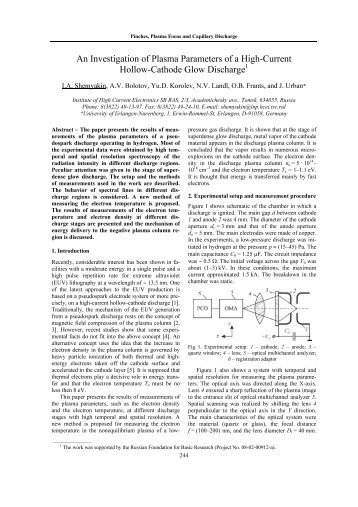 An Investigation of Plasma Parameters of a High-Current Hollow ...