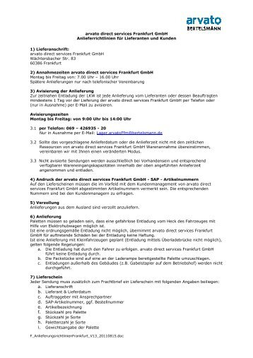 arvato direct services Frankfurt GmbH Anlieferrichtlinien für ...
