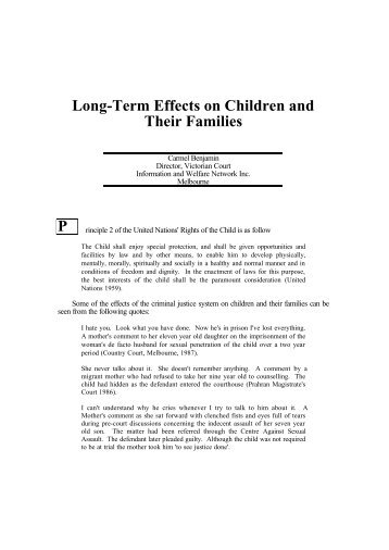 Long-term effects on children and their families