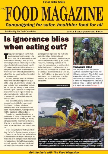 Is ignorance bliss when eating out? - The Food Commission
