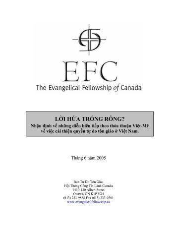 Ban Tự Do Tôn Giáo - Hội Thông Công Tin Lành Canada - Vietnam ...