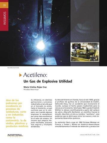 Insumos - Acetileno un Gas de Explosiva Utilidad - Revista Metal ...