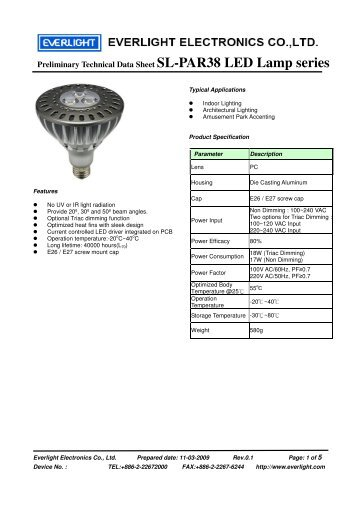 Preliminary Technical Data Sheet SL-PAR38 LED Lamp series