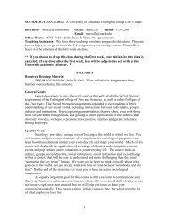 (SOCI) 2013: A University of Arkansas Fulbright College Core Course